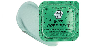 Closed Miss Porefect mask from the Limited Edition Mary Kay Mad About Masking Mask Pod Gift Set styled with product rub of the mask.