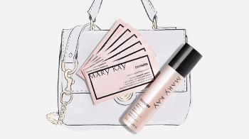 TimeWise Replenishing Serum+C, and and TimeWise Vitamin C Activating Squares style with a handbag illustration.